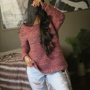 Anthropologie Pink Marl Chunky Knit Sweater